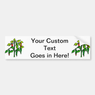 Chili Plant Many Peppers Graphic Car Bumper Sticker