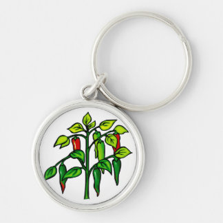 Chili Plant Many Peppers Graphic Silver-Colored Round Key Ring