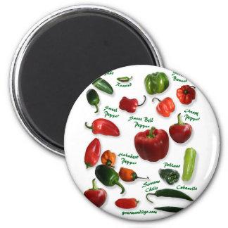 Chili Varieties 6 Cm Round Magnet