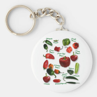 Chili Varieties Basic Round Button Key Ring