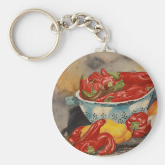 Chilies! Basic Round Button Key Ring