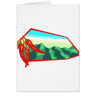 Chilis with moutain range behind greeting card