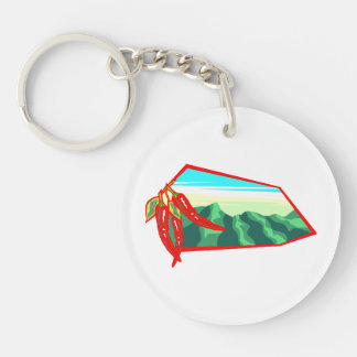 Chilis with moutain range behind Double-Sided round acrylic keychain
