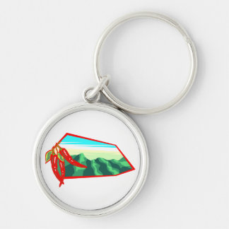 Chilis with moutain range behind keychain