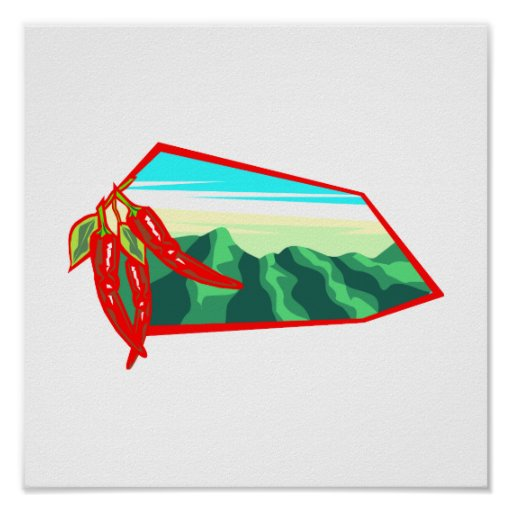 Chilis with moutain range behind poster