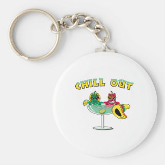 Chill Out Margarita Chili Peppers Basic Round Button Key Ring