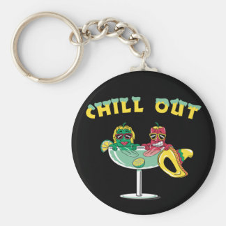 Chill Out Peppers Basic Round Button Key Ring