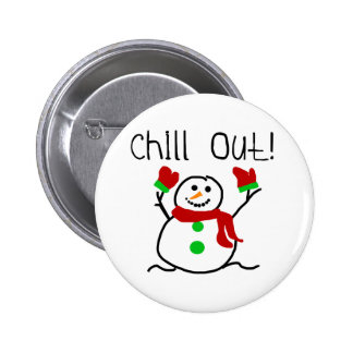 Chill Out Snowman 6 Cm Round Badge