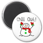 Chill Out Snowman 6 Cm Round Magnet