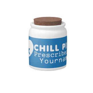 "CHILL PILLS custom ""prescription"" jars Candy Dish"