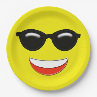 Chill Sunglasses Emoji Paper Plate