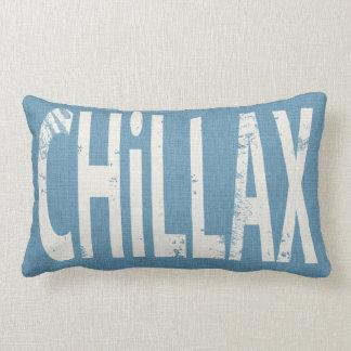 Chillax Skateboard Word Art Pillow Denim Blue