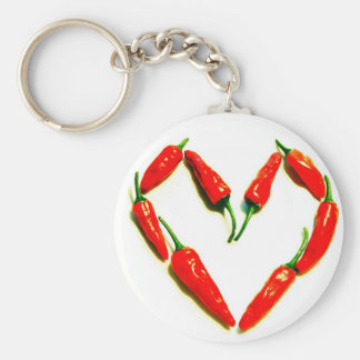 chilli heart basic round button key ring