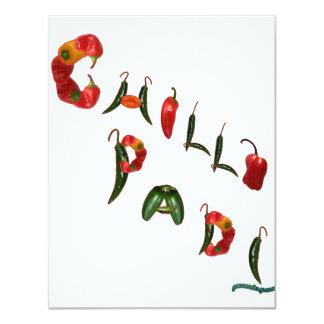 Chilli Padi Chili Peppers 11 Cm X 14 Cm Invitation Card
