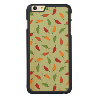Chilli pepper pattern carved maple iPhone 6 plus case
