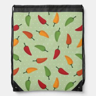 Chilli pepper pattern drawstring bag
