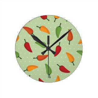 Chilli pepper pattern round clock
