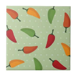 Chilli pepper pattern small square tile