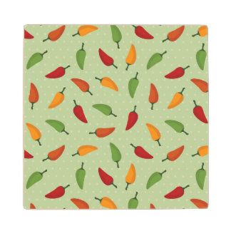 Chilli pepper pattern wood coaster