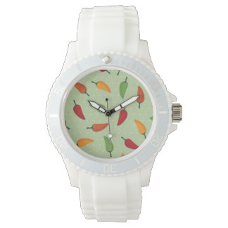 Chilli pepper pattern wrist watches