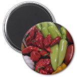 Chilli Peppers 6 Cm Round Magnet