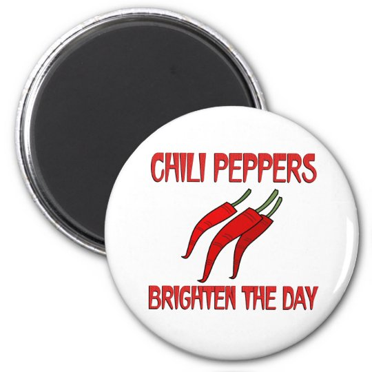 Chilli Peppers Brighten the Day 6 Cm Round Magnet
