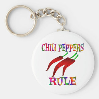 Chilli Peppers Rule Basic Round Button Key Ring