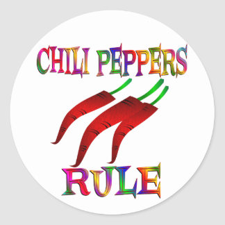 Chilli Peppers Rule Round Sticker