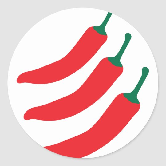 Chilli Red Hot Three Peppers Classic Round Sticker