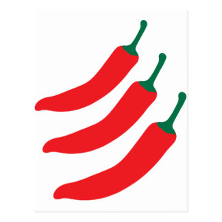 Chilli Red Hot Three Peppers Postcard