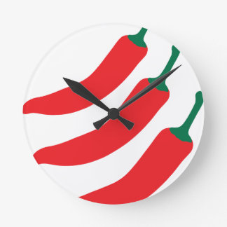 Chilli Red Hot Three Peppers Round Clock