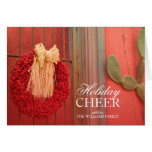Chilli Ristra Red Wreath with rustic beige bow Greeting Card