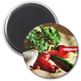Chillies Chili Peppers Garlic Parsley 6 Cm Round Magnet
