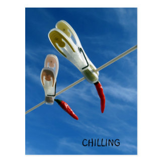 Chillies on the Washing Line Postcard