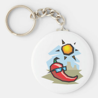 chillin chili pepper basic round button key ring