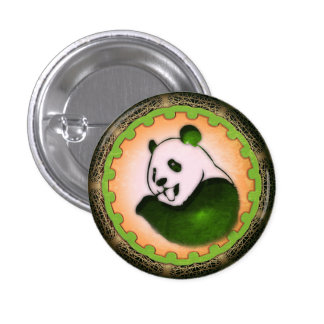 Chilling Chomping Panda Orange and Green 3 Cm Round Badge