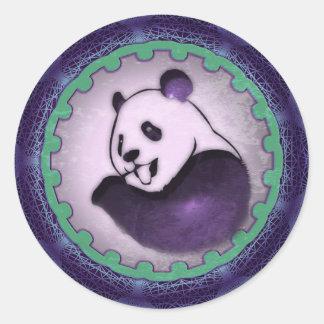 Chilling Chomping Purple Panda Round Sticker