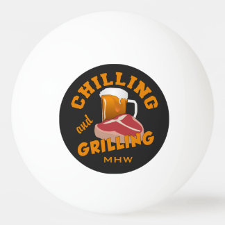 Chilling & Grilling custom monogram pingpong balls