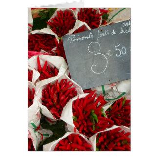 Chillis at Nice Market, France Card