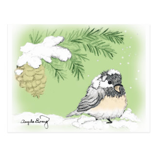 Chilly Chickadee Postcard
