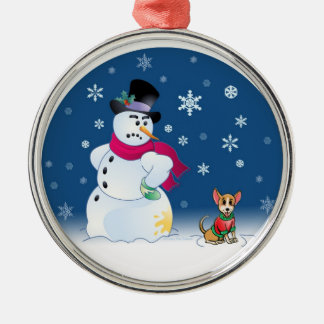Chilly Chihuahua and Snowman ornament