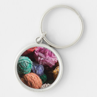 Chiloe wool yarn dyed with natural dyes Silver-Colored round key ring
