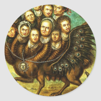 Chimera Winged Creature Early 18th Century Monster Round Stickers