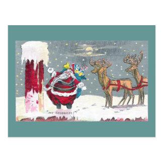 Chimney Challenged Santa Vintage Christmas Postcard