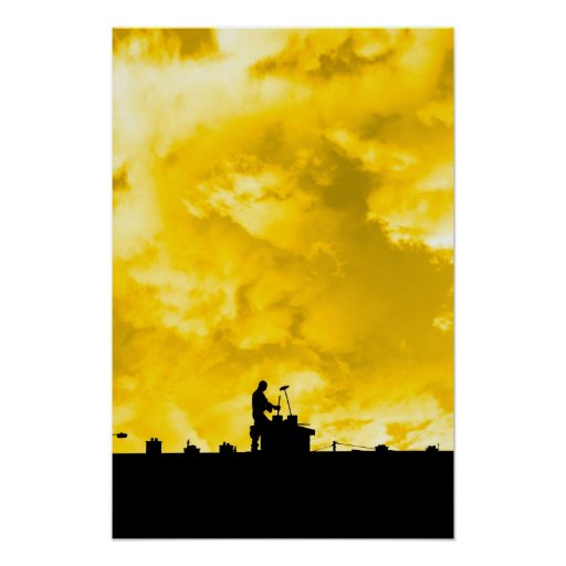 chimney sweep silhouette on the rooftop posters