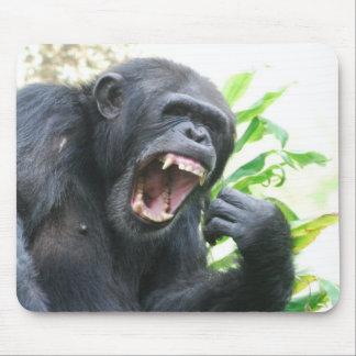 Chimp Baring Teeth Mouse Pad