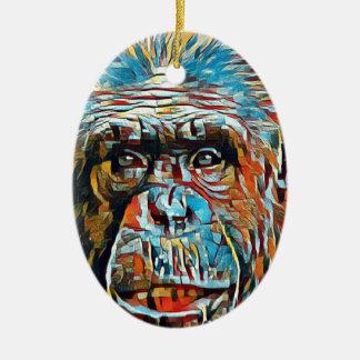 Chimp Chimpanzee Pop Art Digital Photograph Christmas Ornament