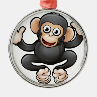Chimp Safari Animals Cartoon Character Silver-Colored Round Decoration