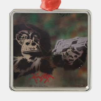Chimp shooting Silver-Colored square decoration