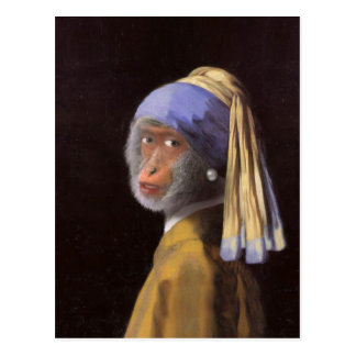 Chimp With The Pearl Earring Postcard